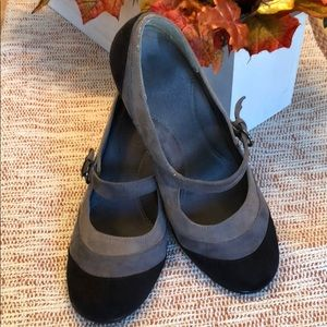Gray suede Mary janes